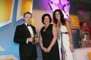 Presentation of Golden Spider award for Best Website in Education by Múirne Laffan, Managing Director, RTÉ Digital and Glenda Gilson, Model/TV Presenter.