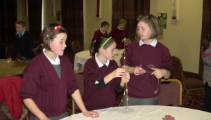 Diane, Nicola and Orla making there structure..