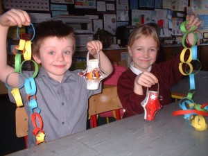 Amy and Evan with their Christmas lanterns.