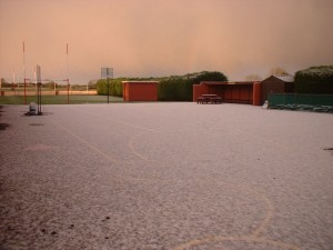 Our schoolyard covered in snow.