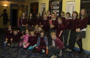 Gortskehy pupils getting ready to go into the cinema.