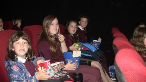 Megan, Amy, Nicola and Diane waiting for the movies to come on.
