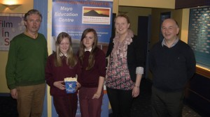 Rebecca, Amy, Gortskehy teachers and Pat Concannon, the manager of Mayo Movieworld, Castlebar