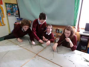 Conal, Justin, Lorna and Amy making crosses