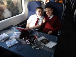 Thomas and Jamie on the train.