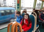On the tram to our partner school in Hoenheim, Strasbourg - Enda and Rachel.
