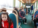 On the tram to our partner school in Hoenheim, Strasbourg - Rachel and Justin.