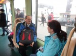 On the tram to our partner school in Hoenheim, Strasbourg - Gerald and Sandie.