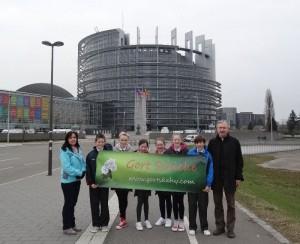 Outside the European Parliament, Strasbourg.