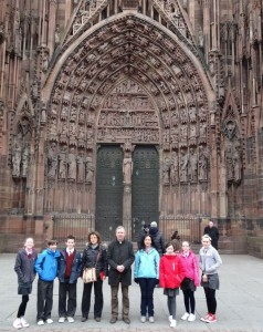 Outside the Cathedral of Notre Dame, Strasbourg.