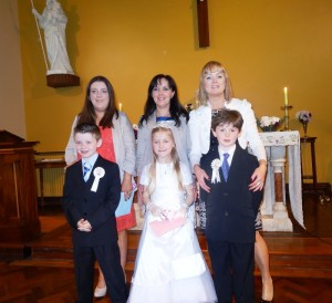 Evan, Amy and Pierce with their mums - Michelle, Sandie and Sharon.
