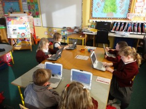 Junior Infants on their Fizzbooks.