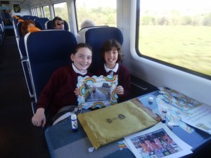 Megan and Grace on the train.