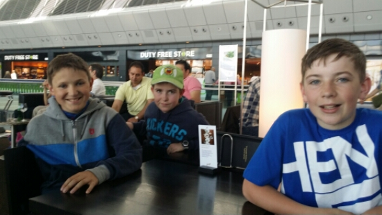 Jamie, Joseph and Thomas at the airport