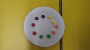 First we put the skittles on a plate.