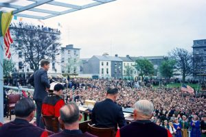 JFK making his speech in Galway in 1963.