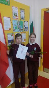 Sian and Amy with their Saint Brigids crosses and project.