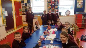 Crosses with the Senior Infants.