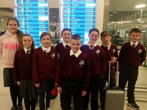 Gortskehy pupils at Lisbon airport.
